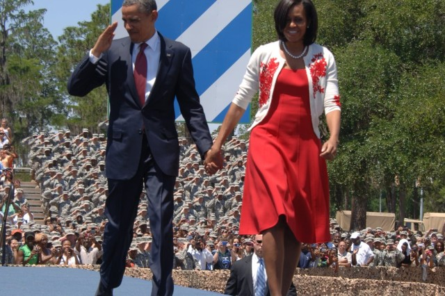 President Barack Obama and First Lady Michelle Obama greet 10,000 Soldiers, veterans and family members at Fort Stewart, Ga., April 27, 2012.