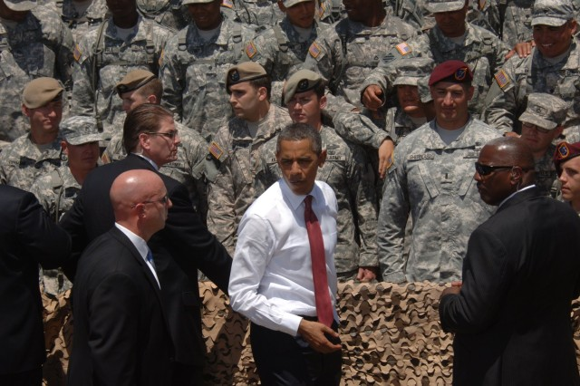 President Barack Obama spoke to 10,000 Soldiers, veterans and family members at Fort Stewart, Ga., April 27, 2012, to announce and sign an executive order preventing scams used to con veterans out of their federal education benefits.