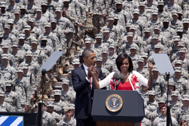 First Lady Michelle Obama speaks to a crowd of more than 10,000 at Fort Stewart, Ga., April 27, 2012. The President and First Lady were at Fort Stewart to announce and sign an executive order preventing scams used to con veterans out of their federal education benefits.