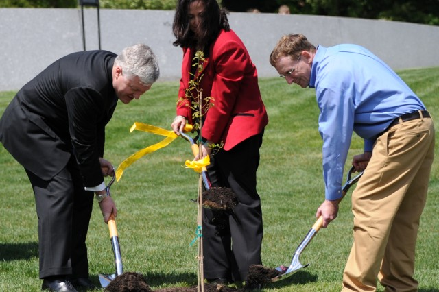 "In celebration of Arbor Day, April 27, 2012, at Arlington National Cemetery, Va., the last of five post oak saplings ""born"" from the acorns of the felled 220-year old ""Grand Arlington Oak"" is planted by (left to right) Scott Steen, CEO American Forests; Katherine Hammack, assistant secretary of the Army for Installations, Energy and Environment; and, Stephen Van Hoven, Arlington National Cemetery urban forester. The ""mother"" tree was felled by Hurricane Irene last August."
