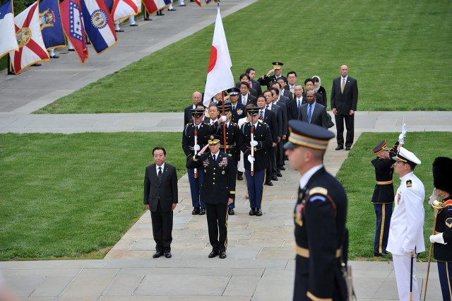 Japan's Prime Minister Yoshihiko Noda participated in an Armed Forces Full Honor Wreath Laying Ceremony at the Tomb of the Unknowns at Arlington National Cemetery honoring the sacrifice of America's veterans in foreign wars April 30, 2012.  Noda was escorted by U.S. Army Military District of Washington's (MDW) Commanding General, Maj. Gen. Michael S. Linnington. (U.S. Army Photo by Mr. Leroy Council, AMVID)