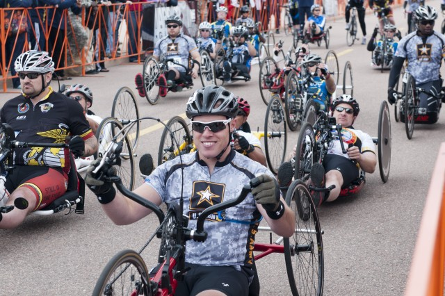 Wounded Warriors participating in the cycling event during the third annual Warrior Games, May 1, 2012, in Colorado Springs, Colo..  Wounded, ill and injured service members and veterans from the Army, Marine Corps, Air Force, Navy, Coast Guard and Special Operations Command compete in track and field, shooting, swimming, cycling, archery, wheelchair basketball and sitting volleyball during the Warrior Games.  (U.S. Army photo by Staff Sgt. Bernardo Fuller)