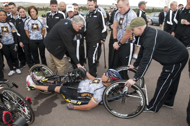 Secretary of the Army John McHugh speaks with competitors during the third annual Warrior Games, May 1, 2012, in Colorado Springs, Colo..  Wounded, ill and injured service members and veterans from the Army, Marine Corps, Air Force, Navy, Coast Guard and Special Operations Command compete in track and field, shooting, swimming, cycling, archery, wheelchair basketball and sitting volleyball during the Warrior Games.  (U.S. Army photo by Staff Sgt. Bernardo Fuller)