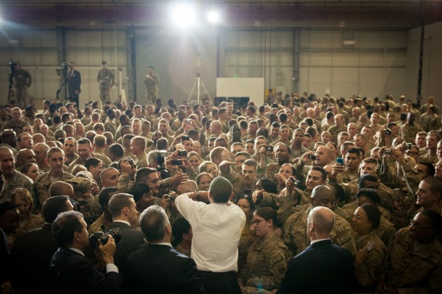 President Barack Obama interacts with troops on Bagram Airfield, Afghanistan, May 2.