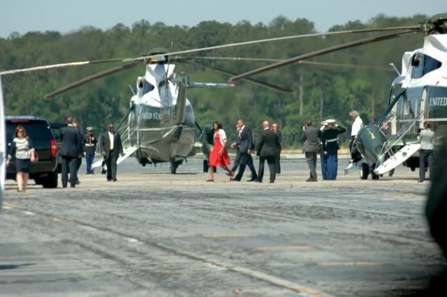 President Barack Obama and First Lady Michelle leave 3rd ID after speaking with Soldiers and Family Members at Fort Stewart, Ga., April 27.