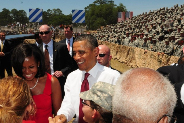 ABOVE President Barack Obama and First Lady Michelle speak with Soldiers and Family Members during a visit at Fort Stewart, Ga., April 27.