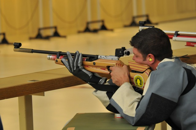 Staff Sgt. John Masters takes aim during the 2012 Warrior Games during the Air Rifle Prone - Open Competition at the Olympic Training Center, Colorado Springs, Colo., May 3, 2012.