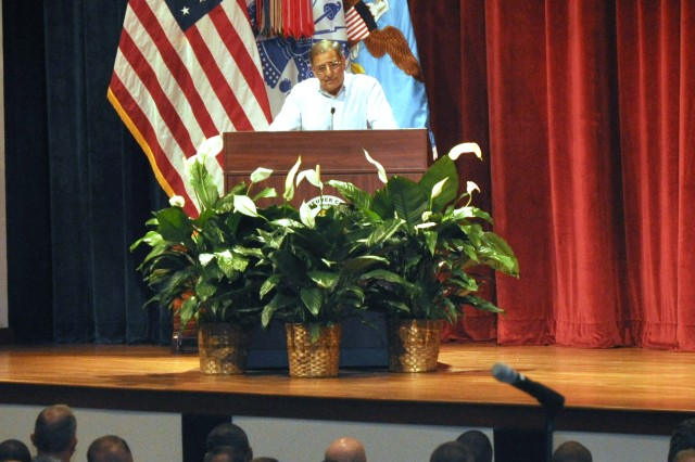 Secretary of Defense Leon Panetta addresses Soldiers of 3rd Heavy Brigade Combat Team, 3rd Infantry Division, in Marshall Auditorium at Fort Benning, Ga., May 4, 2012.  Panetta, the 23rd secretary of Defense, was briefed by Maneuver Center of Excellence leaders and observed training across the installation, including demonstrations at the Clarke Simulation Center on Harmony Church involving dismounted squads, advanced situational awareness and leader immersion on the ELITE system. He also toured the National Infantry Museum and ate lunch with junior enlisted Soldiers from the 3rd Infantry Division, the 75th Ranger Regiment, the 11th Engineer Battalion, and the 209th Military Police Detachment.