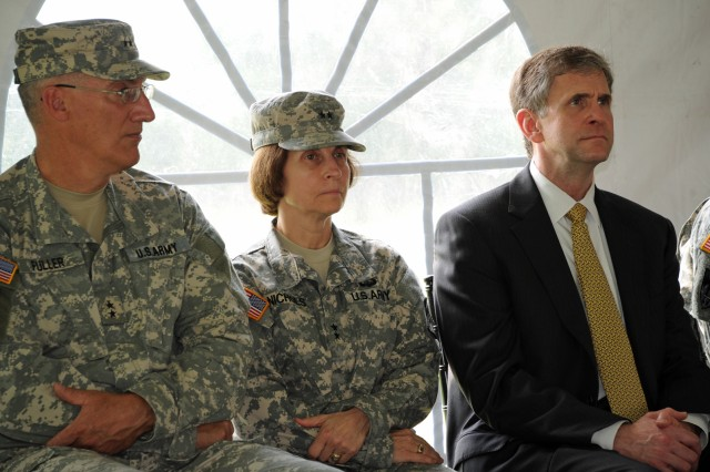 Maj. Gen. Peter N. Fuller, left, PEO Soldier 2008-2011; Maj. Gen. Camille M. Nichols, PEO Soldier 2011-2012, center; and, retired Brig. Gen. James R. Moran, who stood up the innovative organization in 2002 and served as PEO Soldier through 2006. Not pictured, Maj. Gen. R. Mark Brown, PEO Soldier 2006-2008.