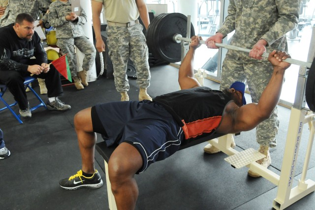 """John Dale, aka """"Mr. ASAP,"""" bench presses 475 pounds without breaking a sweat during the """"Beat Mr. ASAP"""" competition, April 20."""
