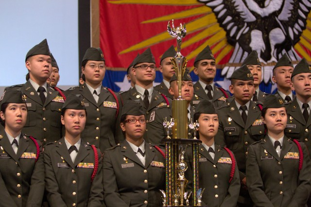 Francis Lewis Cadets pose with the runner-up trophy they won May 7, 2012, in masters level demilitarized arms at the national drill meet in Daytona Beach, Fla.