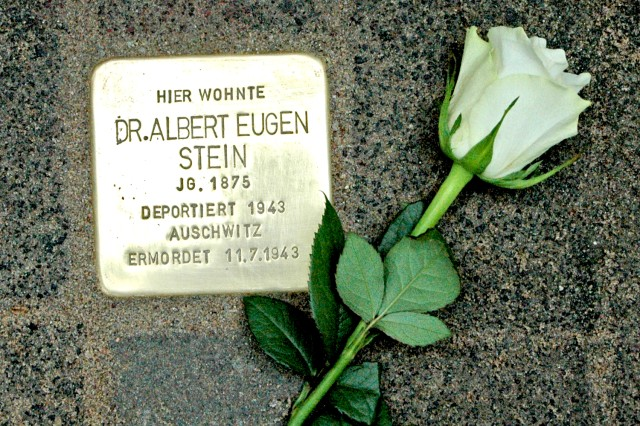 A new stone was placed to remember Dr. Albert Eugen Stein on May 2, 2012. Stein died in the Auschwitz concentration camp during World War II.
