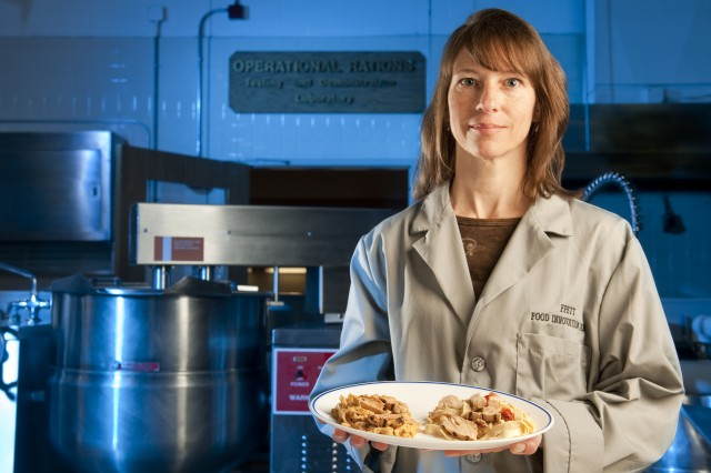Lauren Oleksyk, team leader of the Food Processing, Engineering and Technology Team of the Natick Soldier Research, Development and Engineering Center's Department of Defense Combat Feeding Directorate, believes that microwave sterilization could revolutionize what Soldiers eat on the battlefield.