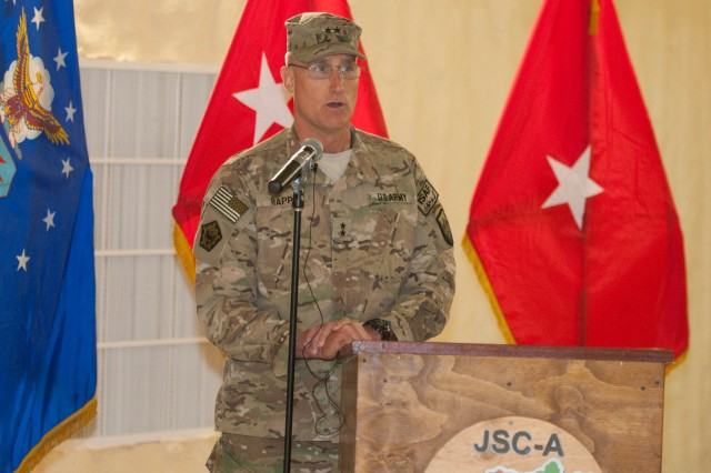 """Maj. Gen. William E. Rapp, the deputy commander of United States Forces """" Afghanistan, was the reviewing officer for the transfer of authority ceremony between the 4th Sustainment Command (Expeditionary) and 3d Sustainment Command (Expeditionary) held at Kandahar Air Field May 7. During his speech, Rapp thanked the Soldiers of the 4th ESC for their hard work and dedication during their deployment and expressed confidence in the 3d ESC to carry on the mission. (U.S. Army photo by Staff Sgt. Michael Behlin)"""