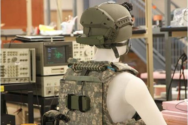 Army Science and Technology has demonstrated wireless power transfer over 4-5 inches from helmet to vest.