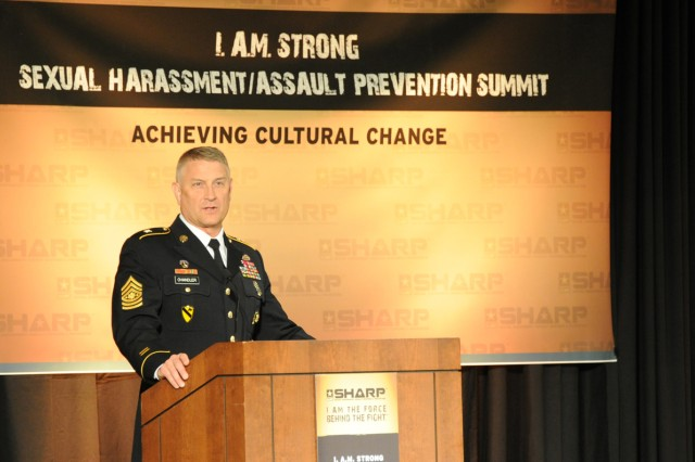 Sgt. Maj. of the Army Raymond F. Chandler III speaks before more than 500 senior leaders at the fifth annual SHARP Summit, which is being held May 7-9, 2012, in Leesburg, Va. The summit is held each year with a goal of eradicating sexual assault and sexual harassment in the Army and the Defense Department.