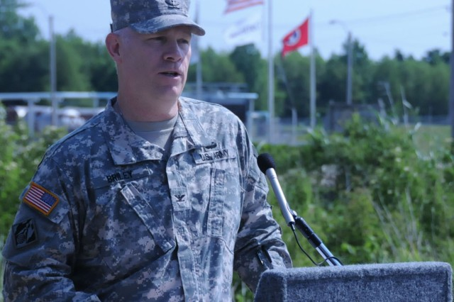 Col. Patrick Briley, Director of Public Works for the 81st Regional Support Command, speaks during the ground breaking for a new Army Reserve Area Maintenance Support Activity (AMSA) that will be completed by early 2013. The ceremony was held on 5 May in Millington, TN.