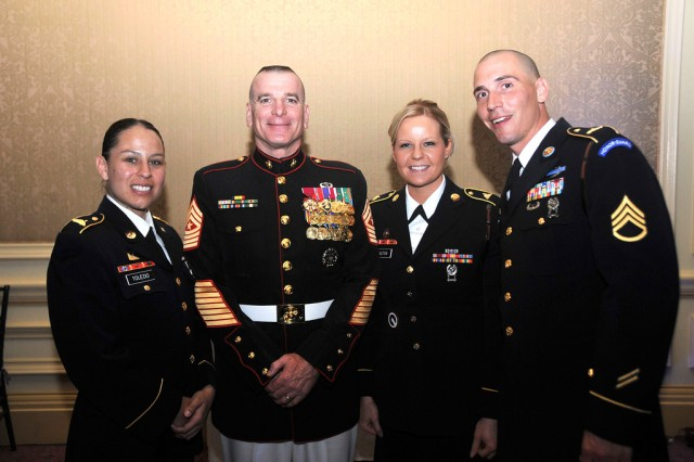 Marine Sgt. Maj. Bryan Battaglia, senior enlisted advisor to the Chairman (SEAC), center, takes a photo with Soldiers of the 3rd U.S. Infantry Regiment, The Old Guard, who attended the annual 2012 Atlantic Council Awards Dinner May 7, 2012, at the Ritz Carlton in Washington, D.C. The SEAC accepted the 2012 Military Leadership Award on behalf of the entire active, Guard and Reserve enlisted force. Other awardees at the dinner consisted of philanthropist Prince Harry of Wales, violinist Anne-Sophie Mutter, and United Nations Secretary General Ban Ki-Moon.