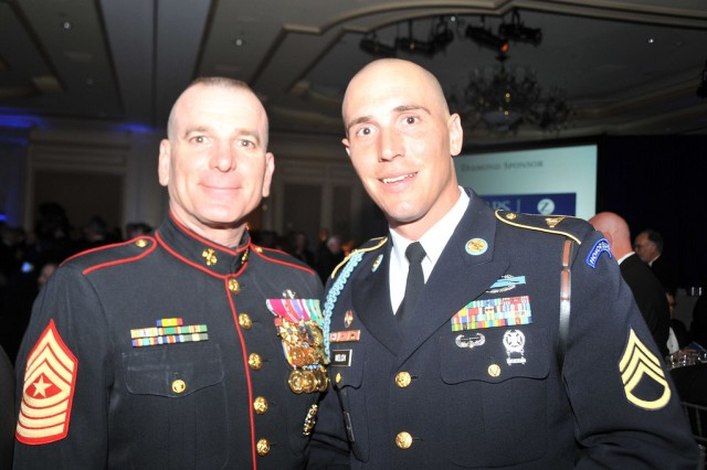 Marine Sgt. Maj. Bryan Battaglia, senior enlisted advisor to the Chairman (SEAC), left, and Army Staff Sgt. Tanner Welch, 3rd U.S. Infantry Regiment, The Old Guard, attended the annual 2012 Atlantic Council Awards Dinner May 7, 2012, at the Ritz Carlton in Washington, D.C., where they accepted the 2012 Military Leadership Award on behalf of the entire active, Guard and Reserve enlisted force. Other awardees at the dinner consisted of philanthropist Prince Harry of Wales, violinist Anne-Sophie Mutter, and United Nations Secretary General Ban Ki-Moon.