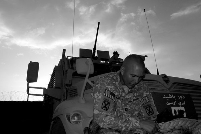 Tyler Kurth takes a break during his deployment to Afghanistan.