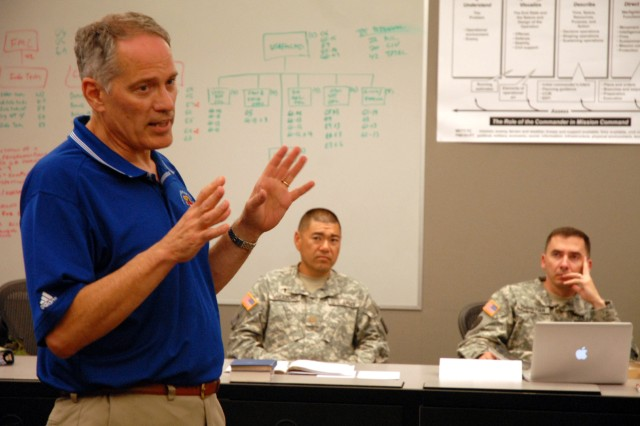 Course author Mike Weaver leads a discussion with Chaplain (Maj.) Mark Nakazono, Maj. Laurence Christian and other Command and General Staff College Intermediate Level Education Mass Atrocity Response Operations elective course students May 3 at the Lewis and Clark Center, Fort Leavenworth, Kan. This is the third time the elective has been offered.