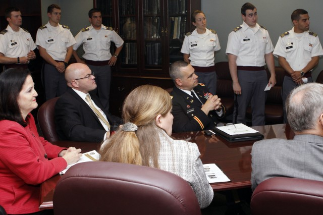 The Honorable Katherine Hammack, Assistant Secretary of the Army for Installations, Energy and Environment, sat in on several presentations during Projects Day May 3 at West Point which focused on research and studies on Net Zero Energy initiatives.