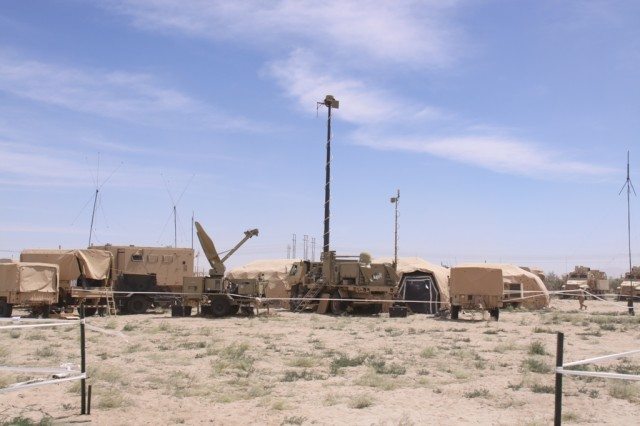 For the first time, Army planners have incorporated the role of higher headquarters into the Network Integration Evaluation, with the 101st Airborne Division (Air Assault) acting as the higher headquarters for the 2nd Brigade, 1st Armored Division. Pictured is 2/1 AD with equipment for Warfighter Information Network-Tactical Increment 2, which enhances network connectivity by introducing on-the-move satellite communications down to the company level. Data and Soldier feedback from the 101st Airborne will factor into the test results for WIN-T Increment 2.