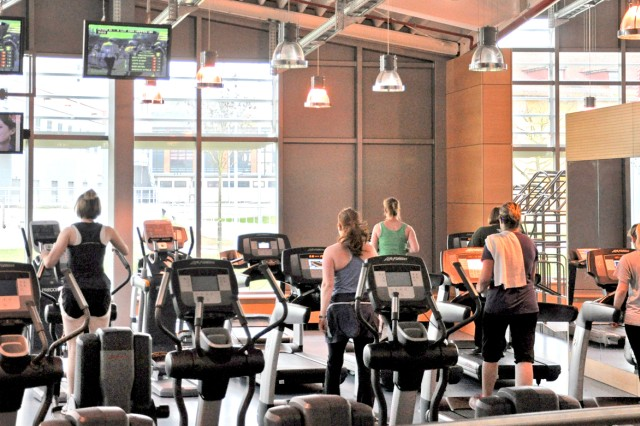 People take advantage of the many fitness opportunities at the Wiesbaden Fitness Center.