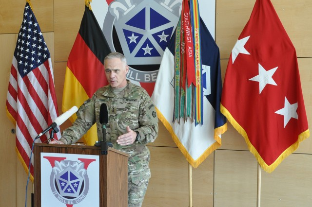 Lt. Gen. James Terry, V Corps' commander, fields questions from the media before the casing of the V Corps colors ceremony in Wiesbaden, Germany, May 10, 2012.