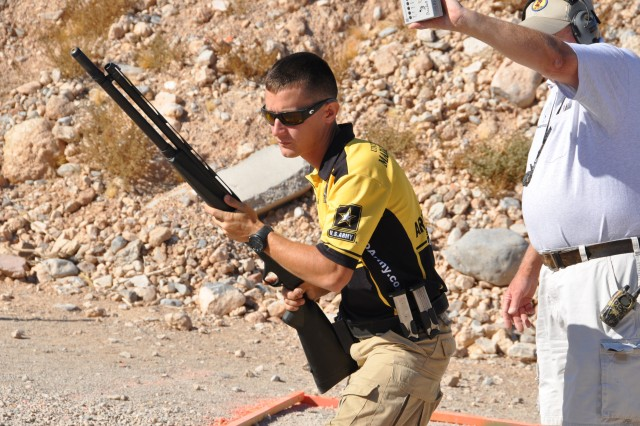 Staff Sgt. Daniel Horner, U.S. Army Marksmanship Unit, prepares to complete a stage during the 2012 United States Practical Shooting Association Multi-gun National Championship in Las Vegas in April. Horner won his fifth national championship and fourth in a row.
