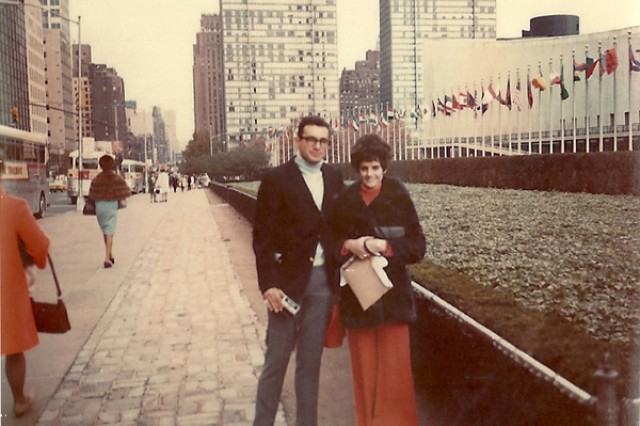Spc. 4 Leslie Sabo and his wife, Rose Mary, pose in front of the United Nations buildong while on their honeymoon in New York in 1969. Sabo deployed to Vietnam with Company B, 3rd Battalion, 506th Infantry Regiment, 101st Airborne Division in November that year. He was killed in Cambodia while saving the lives of others, May 10, 1970, actions for which he will be posthumously awarded the Medal of Honor, May 16, 2012.