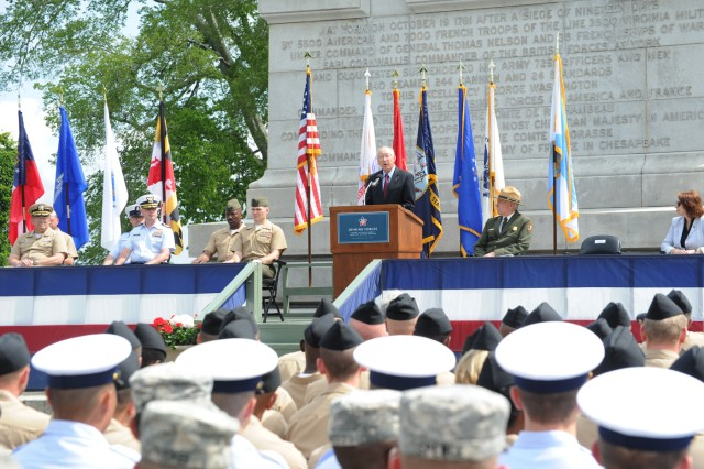 Secretary of the Interior Ken Salazar spoke during a ceremony, May 15, in Yorktown, Va.
