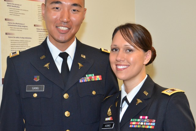 First Lt. Charles Gang and Capt. Justina Assmus were both recognized May 11, for completing the Interservice Physician Assistant Program, a grueling two-year program that prepared them to become Army Physician Assistants (Photo by Brandy Gill, CRDAMC Public Affairs).