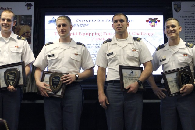 The team of Class of 2012 Cadets Jacob Baxter, Luke Grant, Jake Young and Isaac Melnick placed first in the inaugural Rapid Equipping Force Grand Challenge, following the presentations and judging May 7, 2012.
