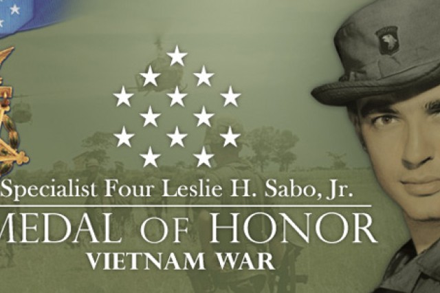 In a White House ceremony, President Barack Obama presented a posthumous Medal of Honor, recognizing Army Spc. Leslie H. Sabo Jr., a rifleman with the 101st Airborne Division who was killed in eastern Cambodia during the Vietnam War. Sabo's widow, Rose Mary Sabo-Brown, accepted the award with other family members.