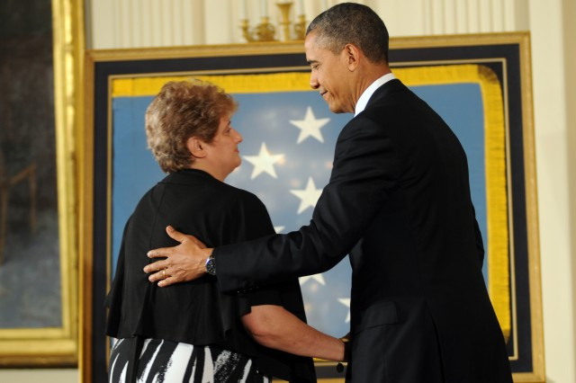 During a ceremony at the White House, May 16, 2012, Spc. 4 Leslie H. Sabo Jr. Sabo was posthumously awarded the Medal of Honor.  The award was presented by President Barack Obama.  Sabo's widow, Rose Mary Sabo-Brown, received the medal on Sabo's behalf.  Sabo was killed in Cambodia in May 1970.