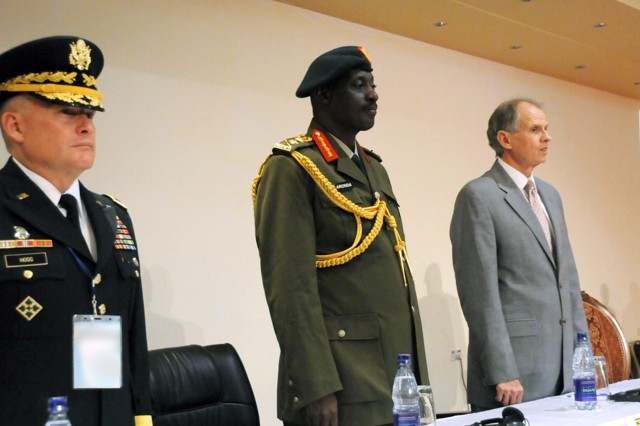 Maj. Gen. David R. Hogg, commander (left) and U.S. Ambassador Jerry P. Lanier (right) at the opening ceremony for the African Land Forces Summit 12 in Uganda, May 14. ALFS was created by the U.S. Army in an effort to build understanding, interpersonal relationships and leadership by bringing together senior leaders from Africa. The summit provides a unique opportunity for the U.S. and Africa to solidify relationships, exchange information on current topics of mutual interests and seek to encourage cooperation in addressing challenges.