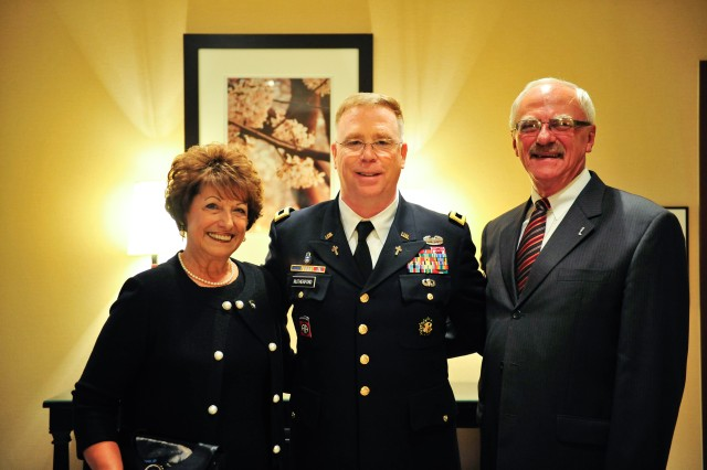 Army Chief of Chaplains Maj. Gen. Donald L. Rutherford poses with George Sabo, brother of Specialist 4 Leslie H. Sabo Jr., and sister-in-law Olga Sabo at the Sheraton National Hotel, prior to the White House Medal of Honor ceremony, posthumously, in honor of Spc. 4 Sabo. Then 22-year-old Sabo was killed in action in Cambodia in 1970 while saving the lives of his fellow solders. Washington D.C., May 16, 2012.