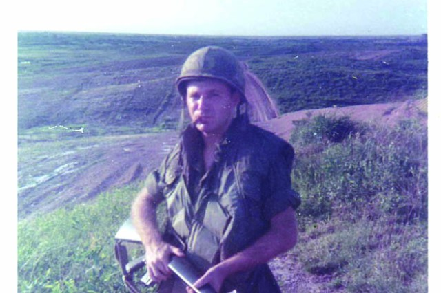 Specialist 4 Denny Kirkham patrols the hilltops in Vietnam in 1970. Kirkham, only 18 years old when drafted after graduation, earned a Bronze Star for his duties as a radio operator during the Battle of Fire Support Base Ripcord in the A Shau Valley, the only battle lost by the 101st Airborne Division in Vietnam.