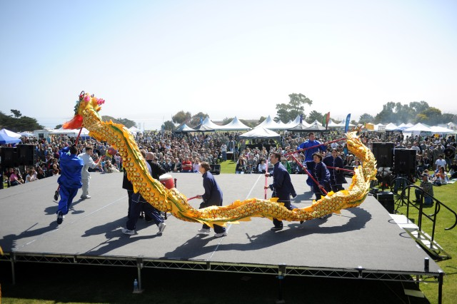 PRESIDIO OF MONTEREY, Calif. - The first act to take the stage during this year's Language Day was the traditional Chinese Dragon dance.