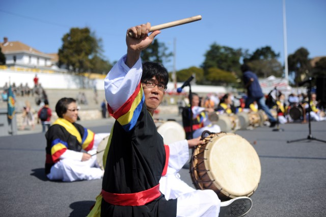 PRESIDIO OF MONTEREY, Calif. - Percussionists perform a traditional Korean folk music called Samul Nori.