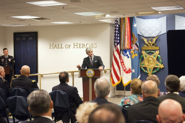 Secretary of the Army John McHugh addresses the audience during the Hall of Heroes induction ceremony at the Pentagon, Washington, D.C., May 17, 2012,for Army Spc. 4 Leslie H. Sabo Jr., who was posthumously awarded the Medal of Honor the day before.  (U.S. Army photo by Spc. John G. Martinez)