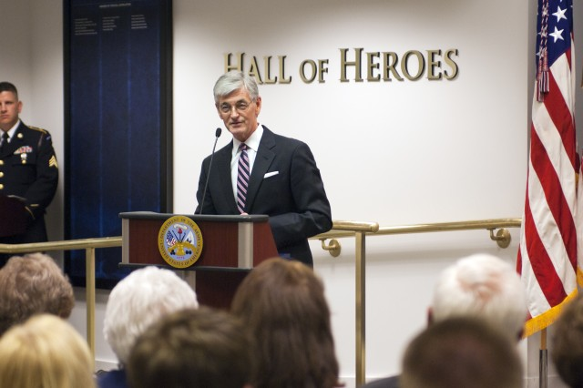 Secretary of the Army John McHugh addresses the audience during the Hall of Heroes induction ceremony at the Pentagon, Washington, D.C., May 17, 2012, honoring Army Spc. 4 Leslie H. Sabo Jr., who was posthumously awarded the Medal of Honor the day before. (U.S. Army photo by Spc. John G. Martinez)