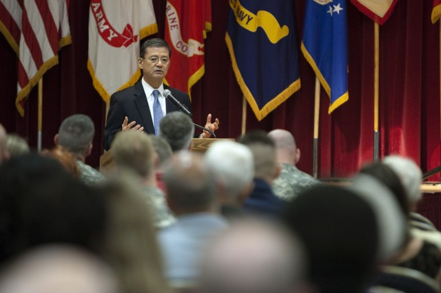 Secretary of Veterans Affairs Eric K. Shinseki speaks during the Joint Base Myer-Henderson Hall celebration of Asian-Pacific American heritage month May 16. See more photos at www.flickr.com/photos/jbm-hh.