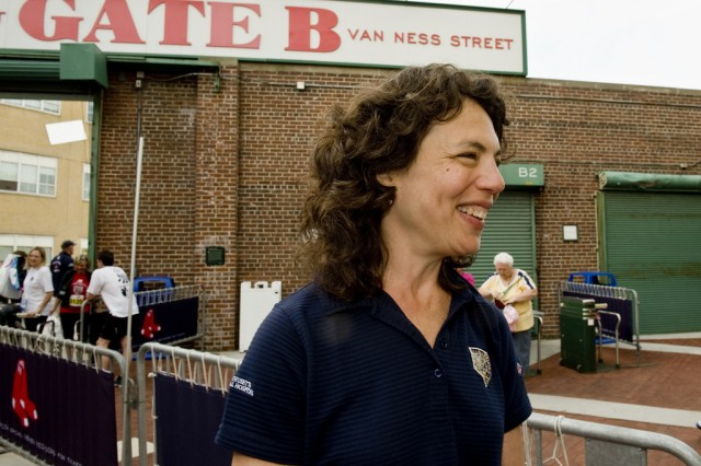Dr. Naomi Simon is a psychiatrist and the chief medical officer for the Red Sox Foundation and Massachusetts General Hospital Home Base Program talks about the Run-Walk to Home Base before the start of the race, May 20, 2012.