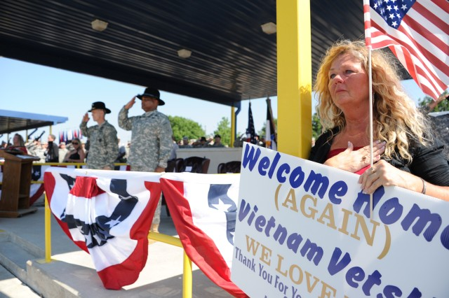 Emotions ran deep at Fort Hood May 21, 2012, as nearly 700 Vietnam veterans were welcomed home. Veterans' family members and friends shed tears as the national anthem played and the III Corps and Fort Hood command team, Lt. Gen. Don Campbell Jr. and Command Sgt. Maj. Arthur L. Coleman Jr. saluted the veterans on Sadowski Field.