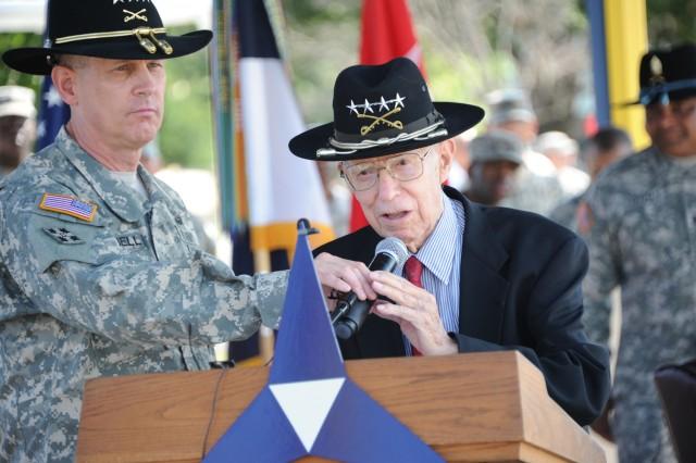 Vietnam Veteran retired Gen. Robert Shoemaker addresses nearly 700 Vietnam Veterans during a welcome home ceremony May 21, 2012, on Sadowski Parade Field at Fort Hood, Texas.