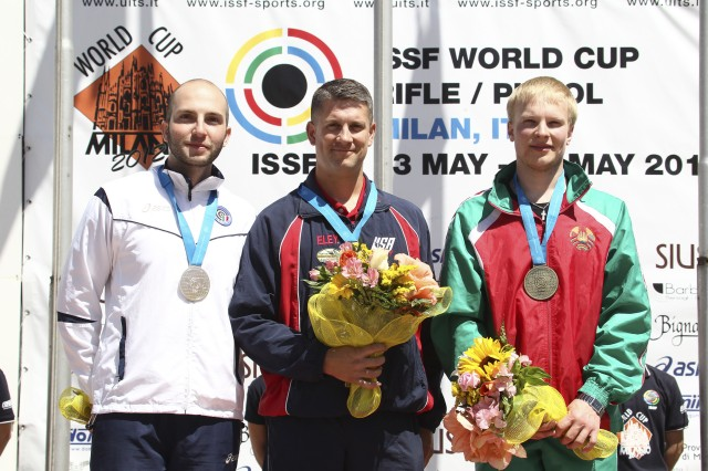 Sgt. 1st Class Jason Parker (center), won the gold medal at the Italy World Cup in Men's Three-Position Rifle. Parker, a three-time Olympian, will be shooting for his fourth trip to the summer games next week on his home range at Fort Benning, Ga.