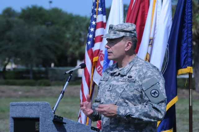 81st Regional Support Command's commanding general, Maj. Gen. Gill Beck, addresses the audience at a ground breaking ceremony in Lake Park, Florida on May 19. The new $16 million, 64,514 sq. ft. facility will be home to approximately 600 Soldiers when it opens in summer 2013.