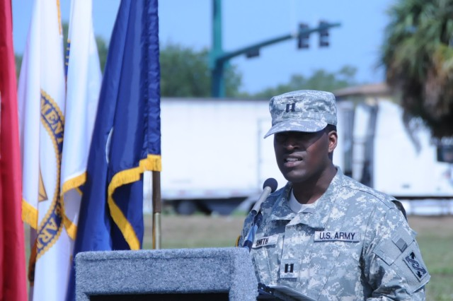 Capt. Dexavior Smith, commander of the 623rd Transportation Company, addresses the audience at a ground breaking ceremony in Lake Park, Fla. The new 64,514 sq. ft. facility will be home to approximately 600 Soldiers including the 623rd, which will be the largest tenant unit when it opens in summer 2013.
